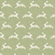 Into The Woods by Makower UK - 5827 - Cream Hares on Green - 1850_G - Cotton Fabric